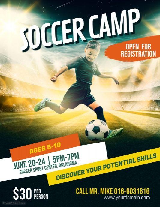 Soccer Futsal Football Camp Flyer Poster Template Football Camp