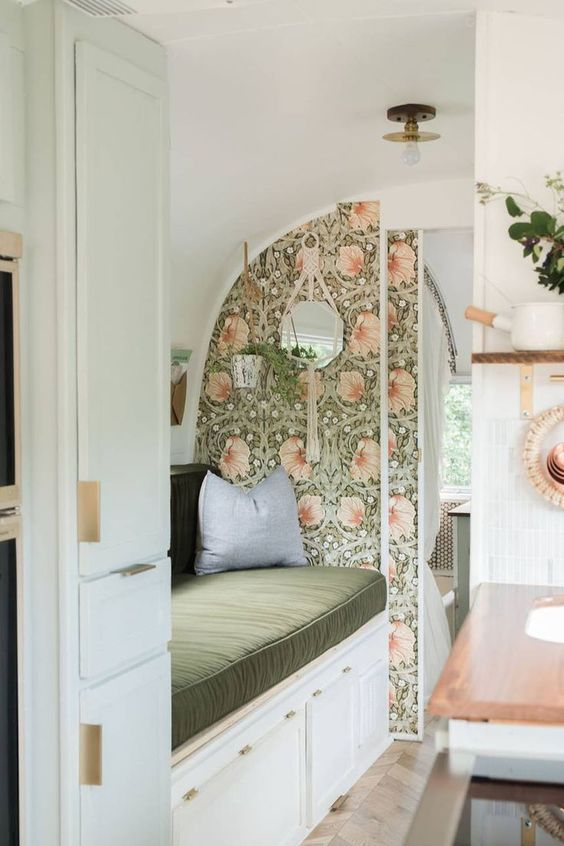 Earthy wallpaper patterns liven up this vintage Airstream renovation |