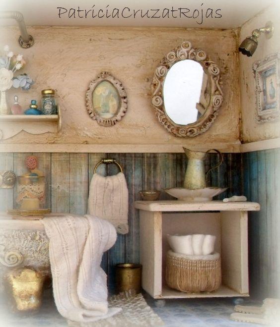 Detalle ba o rustico con miniaturas turquesa crudo marco - Catalogo banos rusticos ...