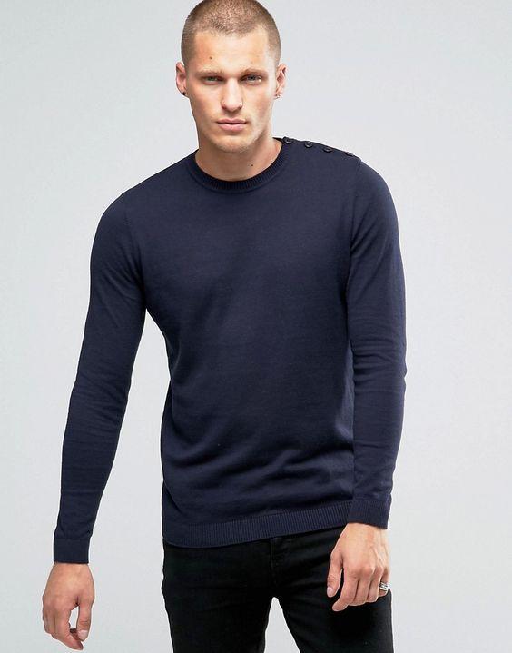 Image 1 - ASOS - Pull en coton avec une épaule boutonnée - Bleu marine