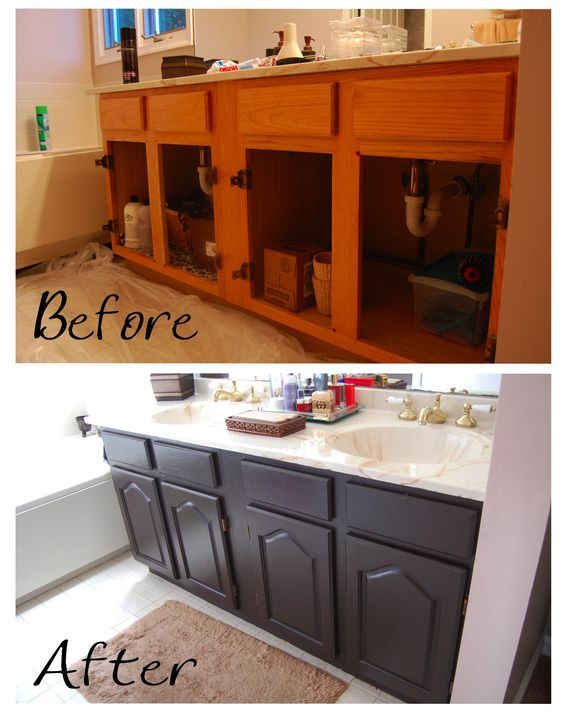 Paint brands painting a bathroom and vanities on pinterest for How to paint a wood bathroom vanity