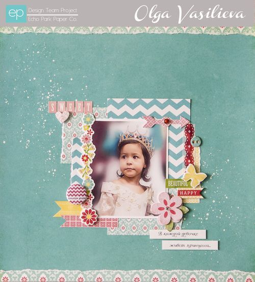 Sweet Girl Layout from Sweet Girl Collection. #echoparkpaper