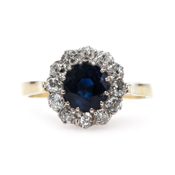 Impressive Victorian Era Unheated Sapphire Engagement Ring   Lone Hill from Trumpet & Horn