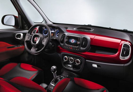 The interior in the Fiat 500L is quirky, with chunky, oversized dials