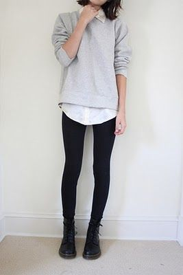 A simple sweater over a plain button up. Add in a pair of tights/leggings/super skinnies and a pair of Docs. Perfect!: