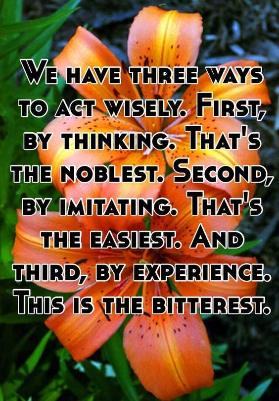 """We have three ways to act wisely. First, by thinking. That's the noblest…"