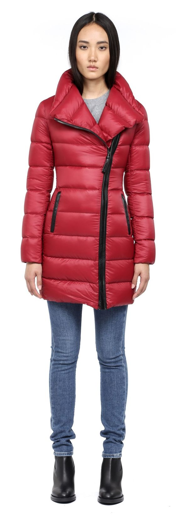 Mackage - YARA CHERRY LONG LIGHT WINTER DOWN JACKET FOR WOMEN WITH