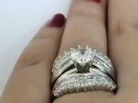 14k White Gold Round Baguette Diamond Enhancer Wrap Guard