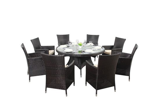 http://www.bonsoni.com/bonsoni-round-dining-set-8-piece-includes-a-large-glassed-top-circular-table-eight-chairs-and-a-parasol-rattan-garden-furniture  The chairs come with sturdy armrests and seat cushions for maximum comfort.  http://www.bonsoni.com/bonsoni-round-dining-set-8-piece-includes-a-large-glassed-top-circular-table-eight-chairs-and-a-parasol-rattan-garden-furniture