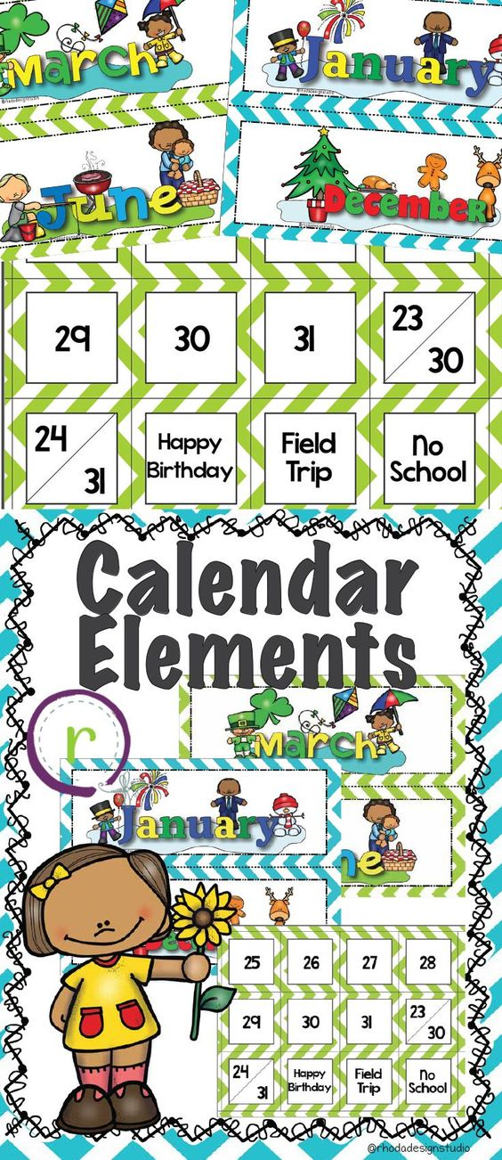 Each of the months of the year for your calendar bulletin and all the dates. You can choose which color you want your calendar dates to be: green, pink, or blue. Or you can mix and match!  Includes a card in each color for birthdays, field trips, no school and a card for 23/30 and 24/31.  Rhoda Design Studio