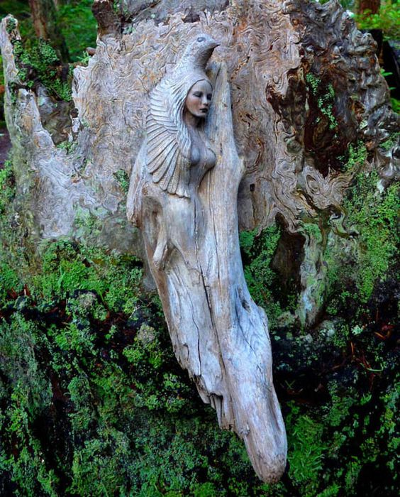 Driftwood Spirit: Stunning Sculptures Carved Out of Driftwood and Shells