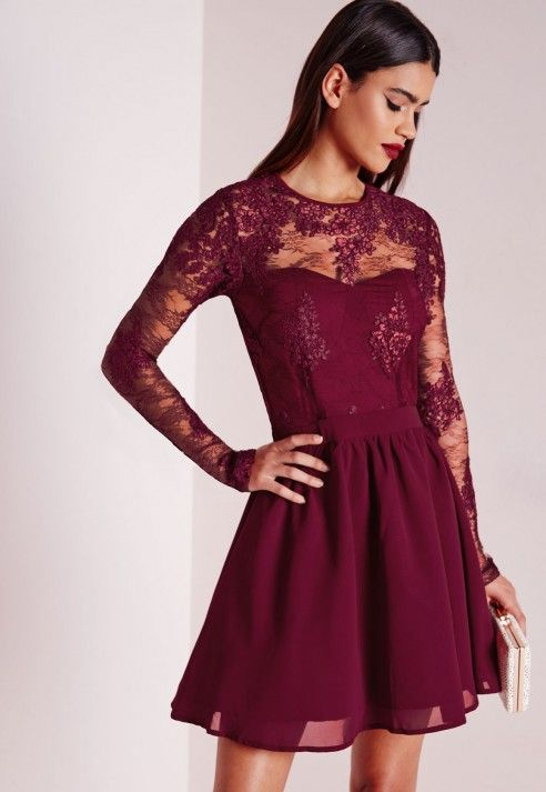 robe patineuse manches longues en dentelle bordeaux robes robes patineuses missguided. Black Bedroom Furniture Sets. Home Design Ideas