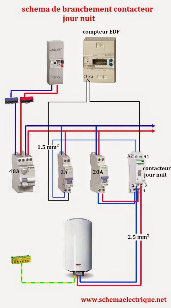 Sch ma electrique contacteur jour nuit lectricit pinterest - Schema d implantation electrique ...