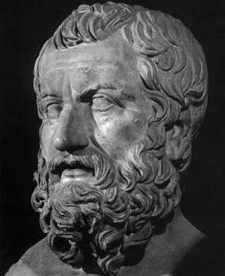 """TALES DE MILETO (Siglo de Pericles): fue un filósofo y científico griego.  En la antigüedad se le consideraba uno de los Siete Sabios de Grecia. Se le atribuyen importantes aportaciones en el terreno de la filosofía, las matemáticas, astronomía, etc, así como un activo papel como legislador en su ciudad natal.En su tiempo predominaban aún las concepciones míticas, pero Tales buscaba una explicación racional, lo que se conoce como """"el paso del mito al logos"""" (logos= <razón>)"""