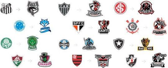 Pigs, Foxes e mais: ilustrador cria versão americana para os escudos dos clubes brasileiros; clique e confira