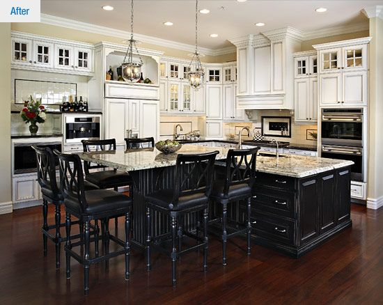 Kitchens islands and kitchen designs on pinterest for Straight kitchen ideas