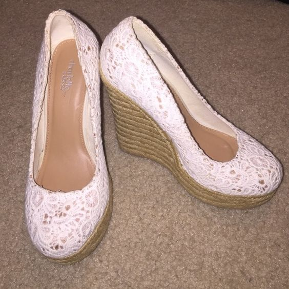 """Crochet Wedges Perfect for spring weather. 4"""" Heels. Cream crochet pattern with tan weave wedges Charlotte Russe Shoes Wedges"""