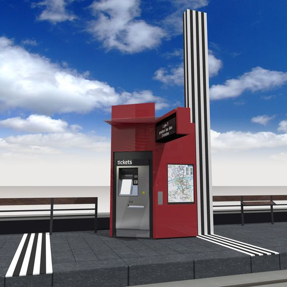 Tours' tramway design project by RCP ensemble(s) la ligne - totem of the station