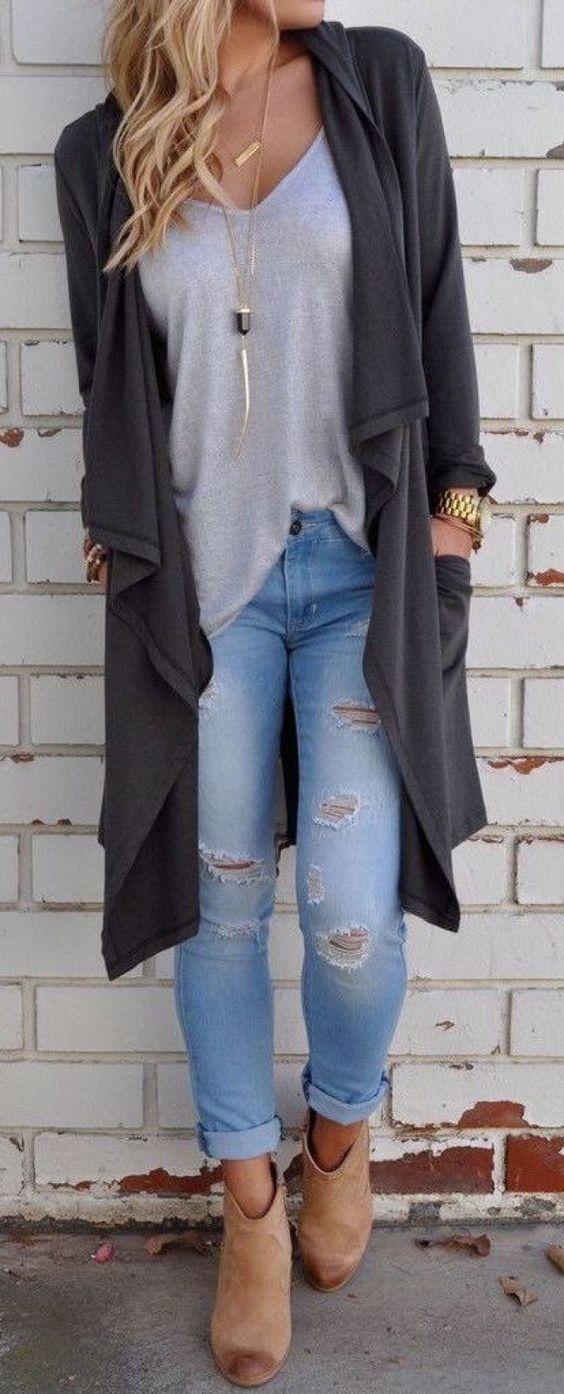 Women's gray leather zip-up jacket, white shirt
