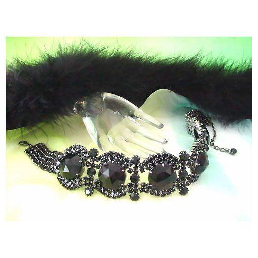 Gorgeous Black Czech Rhinestone Necklace/Choker   Strass Halsband   Schwarz   Exklusivmodell *kla041 - JAUL.biz Perlen und Glas