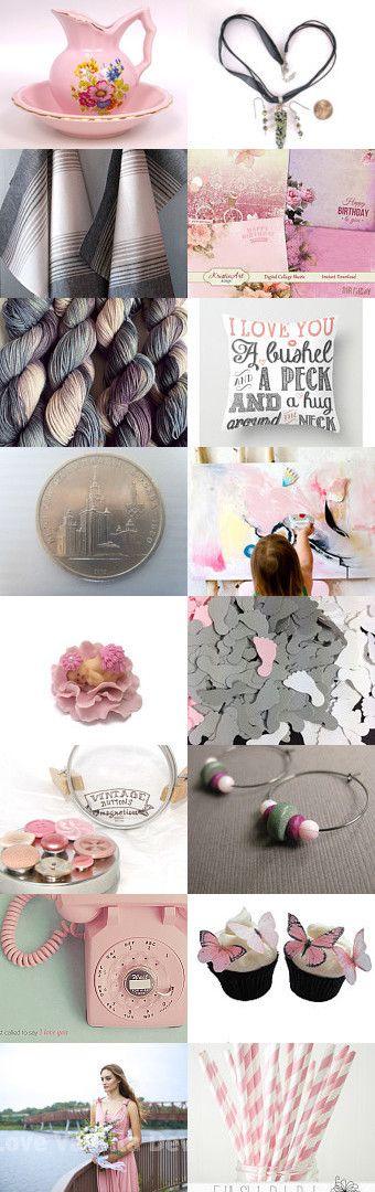 Pimk ank Grey Collection ~ Spring Gift Ideas ~ by Kathy Carroll on Etsy--Pinned with TreasuryPin.com #Etsyvintage #Estyhandmade #giftideas
