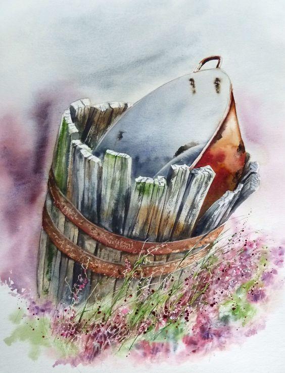 La bassine aux bruy res aquarelle anne larose artists i for Pinterest aquarell