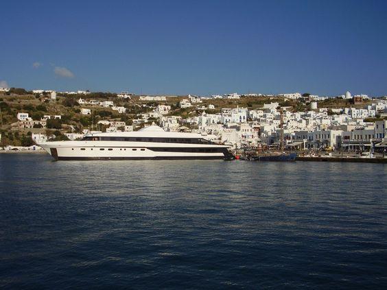 The Harmony G docked in Mykonos, Greece