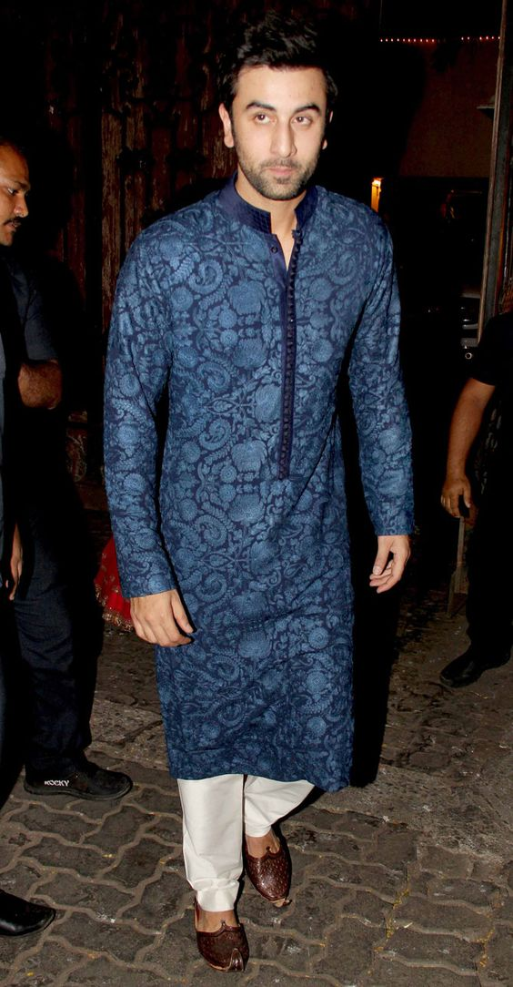 Blue Printed Kurta for Men