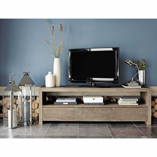 meuble tv en ch ne massif gris l 160 cm d co. Black Bedroom Furniture Sets. Home Design Ideas
