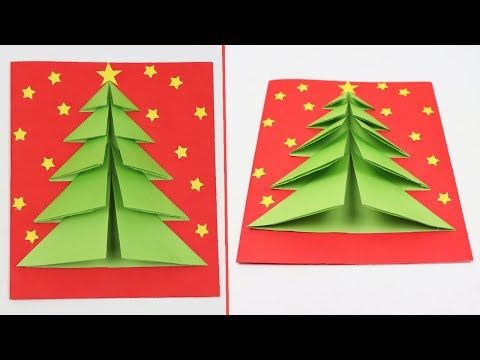 How To Make Christmas Tree Pop Up Card Diy 3d Christmas Tree Greeting Card Christmas Crafts D Christmas Crafts Diy 3d Christmas Tree Card 3d Christmas Tree