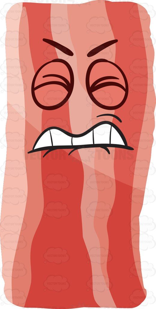 A frustrated strip of bacon #cartoon #clipart #vector #vectortoons #stockimage #stockart #art