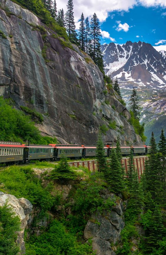 All aboard, the White Pass Summit Route excursion in Skagway, Alaska.
