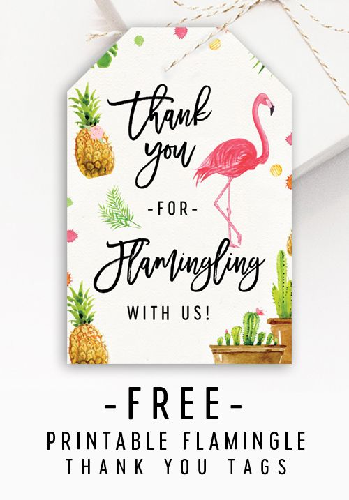 Free Thank You Tags Flamingle Flamingo Instant Download Printable Printable Market Flamingo Birthday Party Flamingo Themed Party Flamingo Birthday