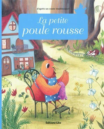 Une petite poule rousse trouve un grain de blé et cherche en vain de l'aide pour le planter.