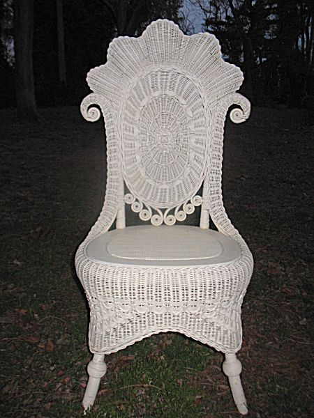 Fancy Victorian Wicker Reception Chair. Click on the image for more information.