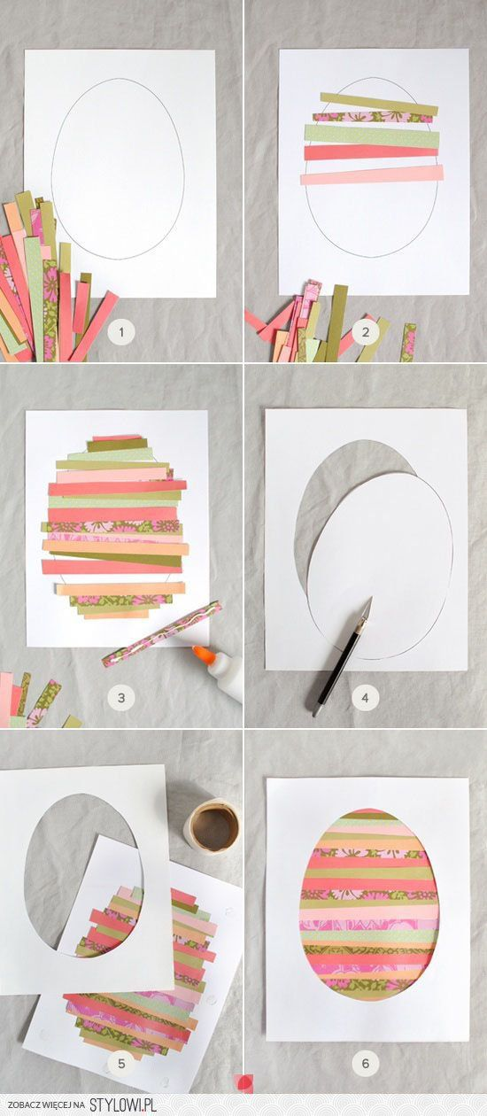 Activités artistiques - maternelle - thème : Pâques. Couper des bandes horizontales/verticales (graphisme + motricité fine), les coller de façon à ce qu'elles se touchent, on ne doit plus voir le blanc de la feuille. On découpe (avec aide d'un adulte) dans l'autre feuille l'oeuf au milieu, on pose l'encadrement sur notre collage. C'est terminé !