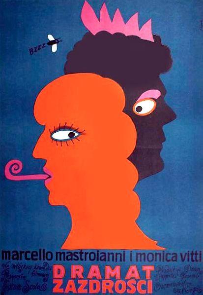 Polish Movie Poster by Jerzy Flisak, 1973, 'The Pizza Triangle'dir. by Ettore Scola, Starring: Marcello Mastroianni, Monica Vitti