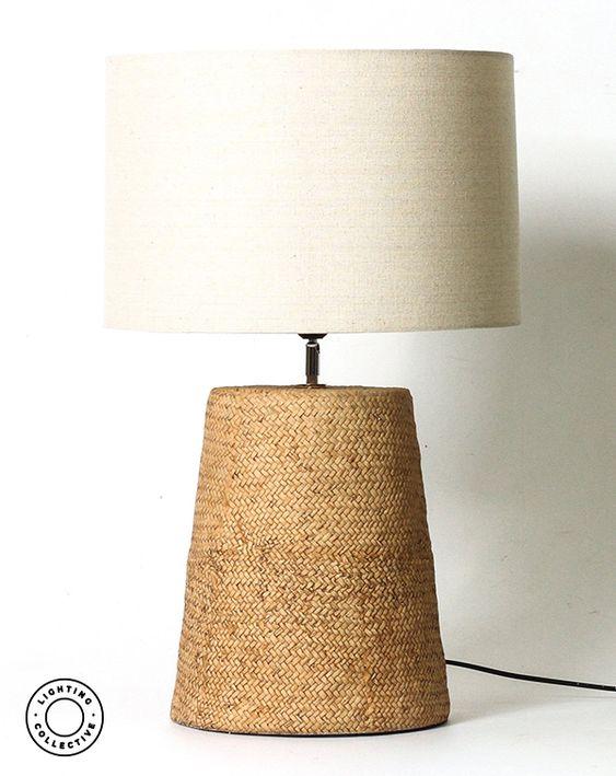 Herringbone Linen Rattan Table Lamp Assorted Size Beautiful Table Lamp Lamp Rattan Lamp