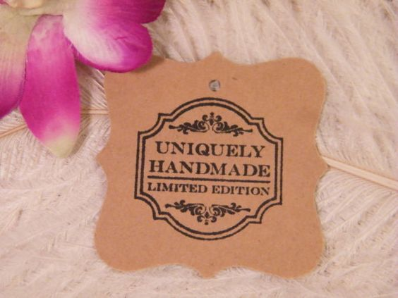 50 Uniquely Handmade Hand Stamped Gift Tags / Fancy Square