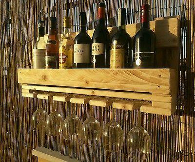 Cantinetta rustica porta bottiglie e porta calici vino - Porta vini da parete ...