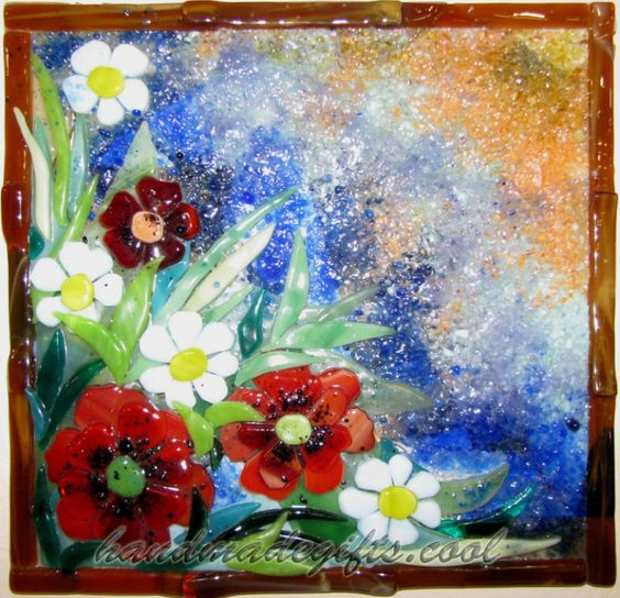 Poppies and camomiles fused glass picture