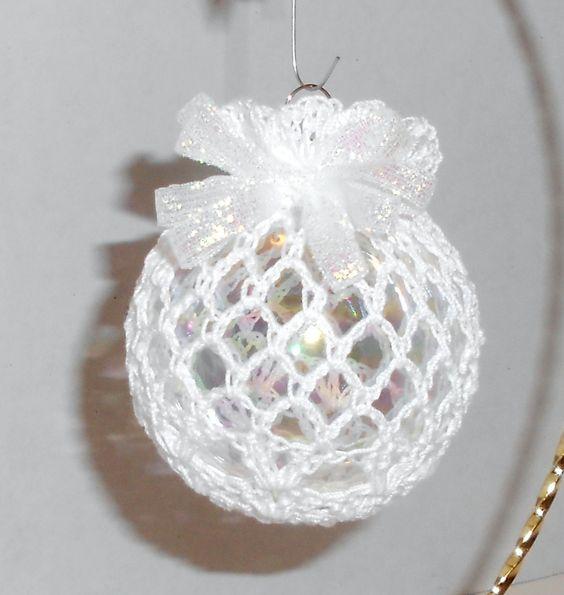 Christmas Ornament, Victorian Christmas Ornament, Crochet Christmas Ball Ornament. $6.00, via Etsy.