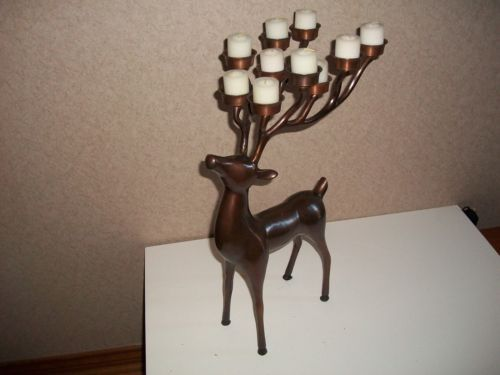Pottery Barn Large Bronze Reindeer Candle Holder 12 Candles Free ...