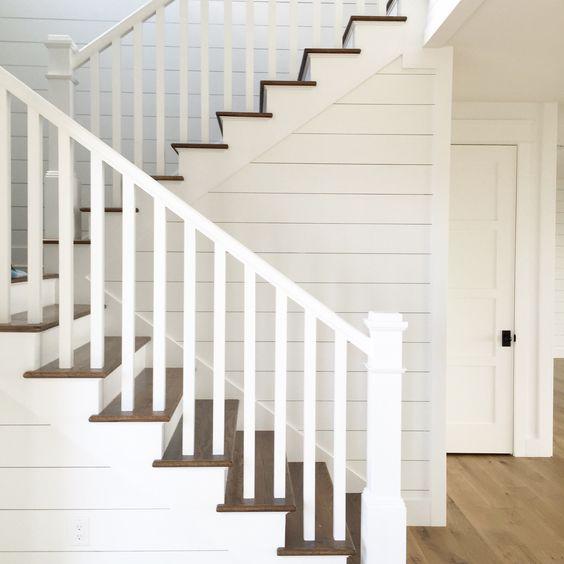 Shiplap Stairs. White Oak Flooring. Kara Hebert Interiors
