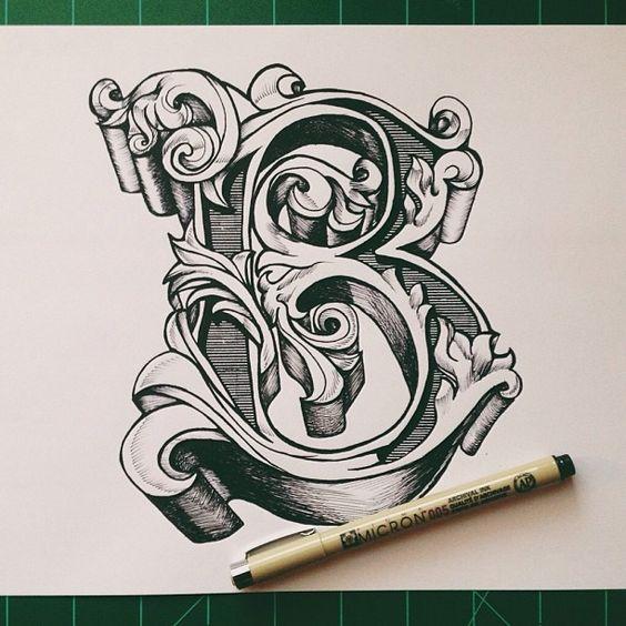 By David Salinas Ornate Letter B