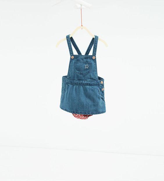 ZARA - KIDS - Denim pinafore dress with briefs