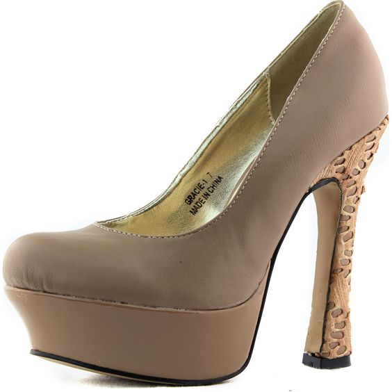 Save 10% + Free Shipping Offer * | Coupon Code: Pinterest10 Material: Man Made leather Material. 5.5 inches, 1.5 inch Platform (approx) Db Dk Fashion Brand Women's Db Dk Fashion Gracie-1 Nude Pu Embellished Round Toe Pumps Shoe