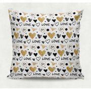 Almofada decorativa em tecido estampado - GOLDEN LOVE – 45cm X 45cm - Decorsoft - Almofadas com estampas  lindas. Aqui você encontra! @decor_soft http://www.decorsoft.com.br/ #decorsoft #decor #almofadas #decoração #adorable