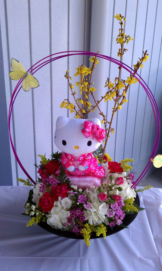 Flower arrangements hello kitty and on pinterest
