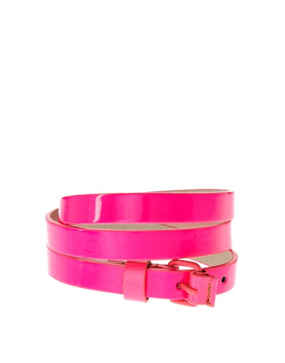 hot pink skinny belt // I probably need this.